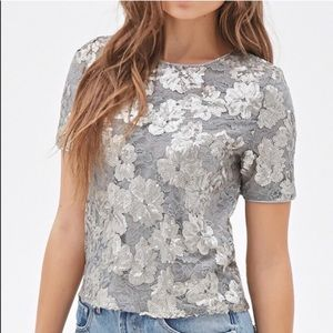F21 ✨NWT✨ Silver Floral Lace Sequin Crop Top